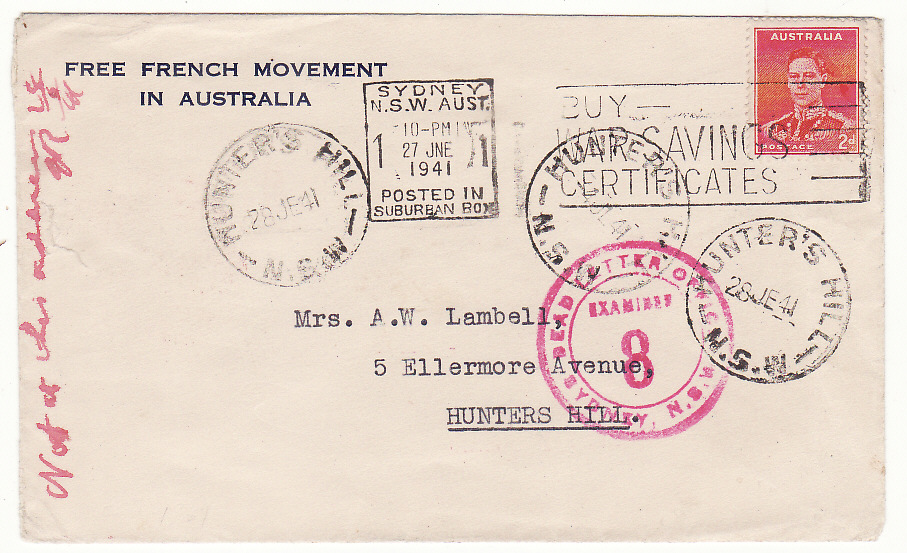 [19520]  AUSTRALIA…WW2 FREE FRENCH MOVEMENT in AUSTRALIA…  1941 (Jun 27)