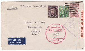AUSTRALIA - CURACAO…FREE DUTCH FORCES DOUBLE CENSORED AIRMAIL…