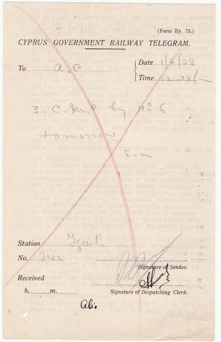 [19568]  CYPRUS..C.G.R.T. RE-USED as WW2 ECONOMY MEASURE  WW2 circa 1945 Cyprus Government Railway Telegram (C.G.R.T.)