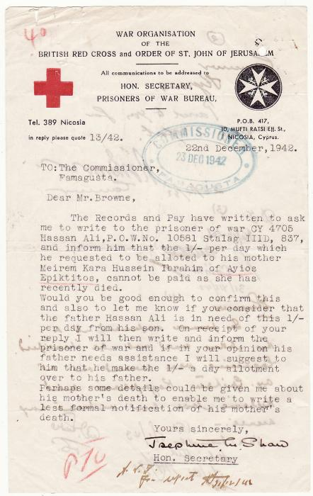 [19570]  CYPRUS..BRITISH RED CROSS & COMMISSIONERS ref CYPRIOT POW..  1942 (Dec 22)