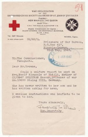 CYPRUS..BRITISH RED CROSS & COMMISSIONERS ref CYPRIOT POW..