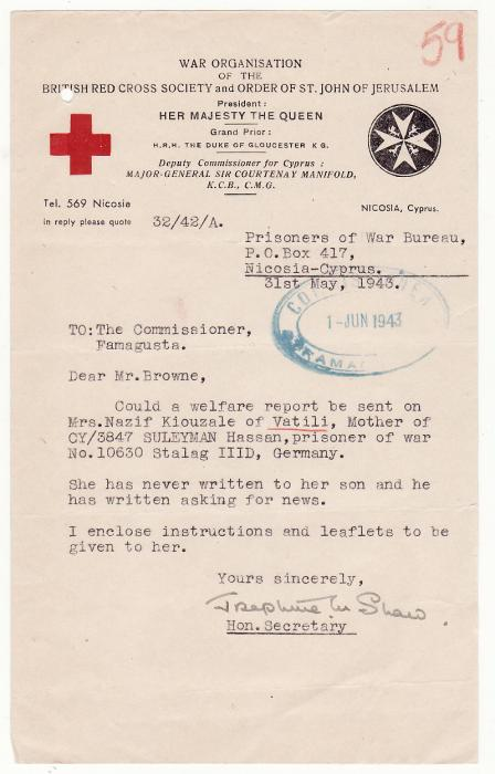 [19571]  CYPRUS..BRITISH RED CROSS & COMMISSIONERS ref CYPRIOT POW..  1943 (May 31)