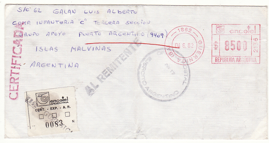 [19577]  ARGENTINA - FALKLAND Is…..1982 ARGENTINE FORCES WAR RETURNED TO SENDER.  1982 (Jun 4)