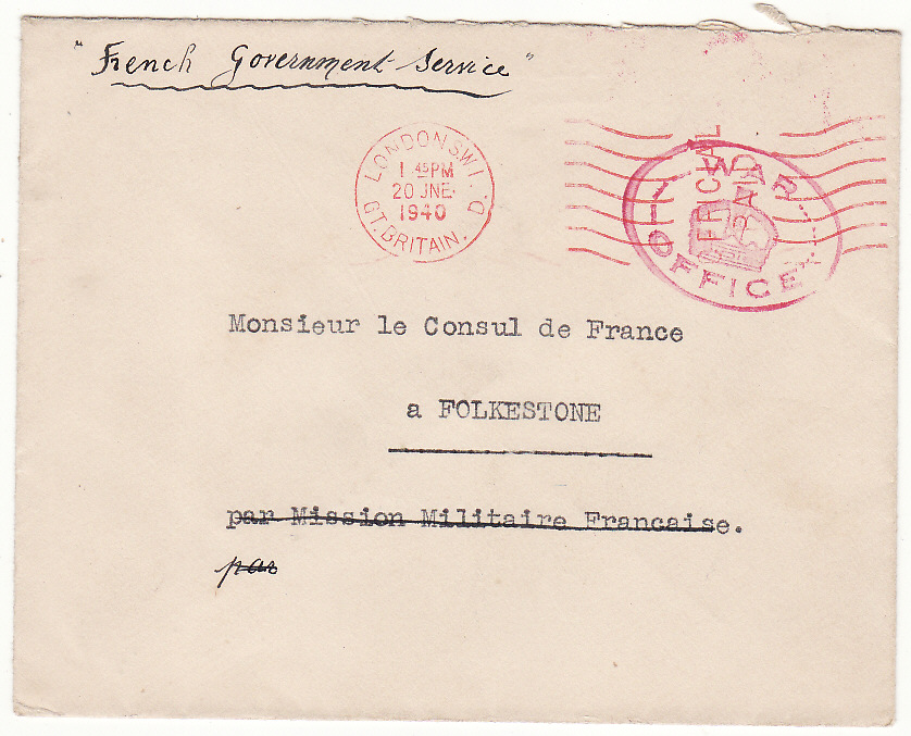 [19583]  GREAT BRITAIN..WW2 FRENCH GOVT. in EXCILE..  1940 (Jun)