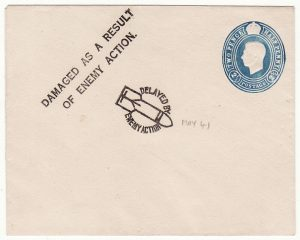 GREAT BRITAIN..WW2  BLITZ DAMAGED & DELAYED PROOF or SPECIMEN HAND STAMPS...
