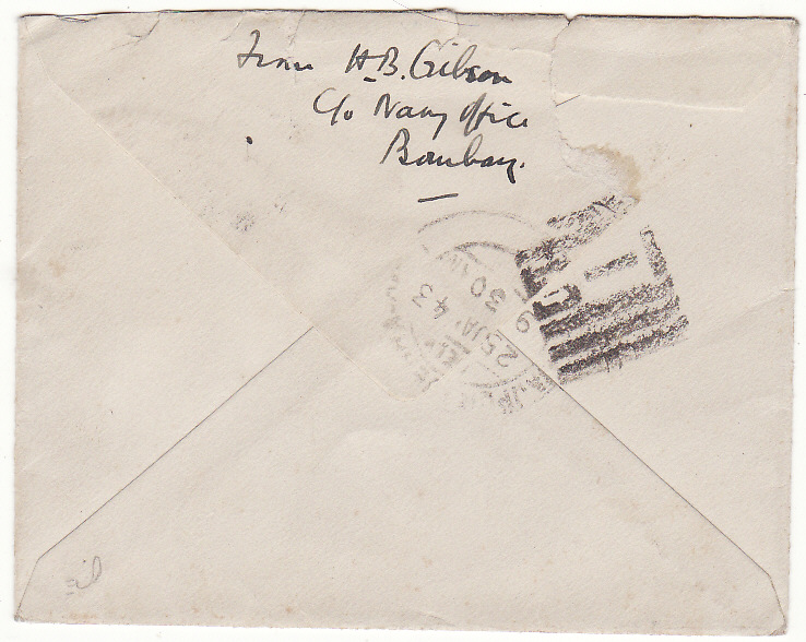 [19598]  INDIA …WW2 INDIAN NAVAL MAIL...  1943 (Jan 15)