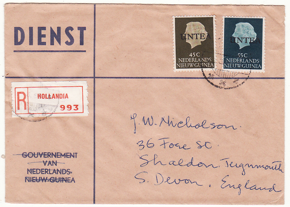[19609]  WEST NEW GUINEA - GB…U.N.T.E.A OFFICIAL REGISTERED MAIL . ...   1963 (Jan 28)