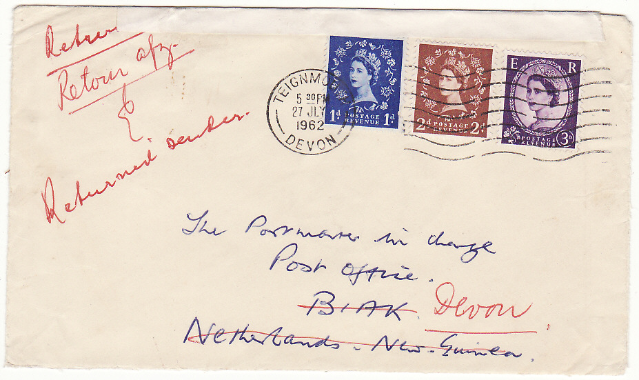 [19612]  GB - WEST NEW GUINEA …U.N.T.E.A INVALID STAMPS RETURNED TO SENDER . ...   1962 (Jul 27)