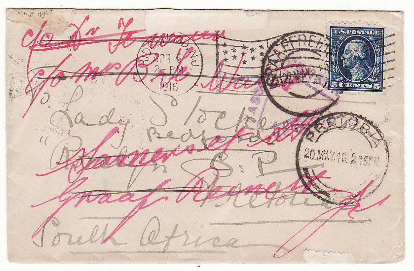 [19634]  USA - SOUTH AFRICA…FLAG CANCEL CENSORED & FORWARDED...  1916 (Apr 5)