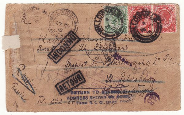 SOUTH AFRICA - RUSSIA …WW1 RETURNED TO SENDER…