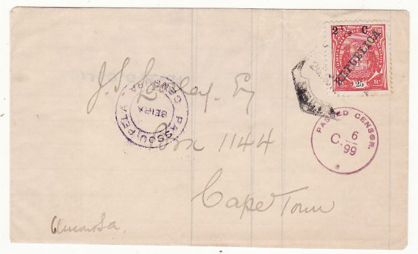 PORTUGUESE EAST AFRICA - SOUTH AFRICA…WW1 DOUBLE CENSORED IMPROVISED ENVELOPE...