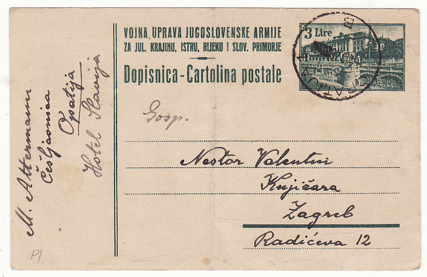 [19671]  YUGOSLAVIA …YUGOSLAV MILTARY GOVERNMENT ISTRIA to ZAGREB .....  1946 (Oct 4)