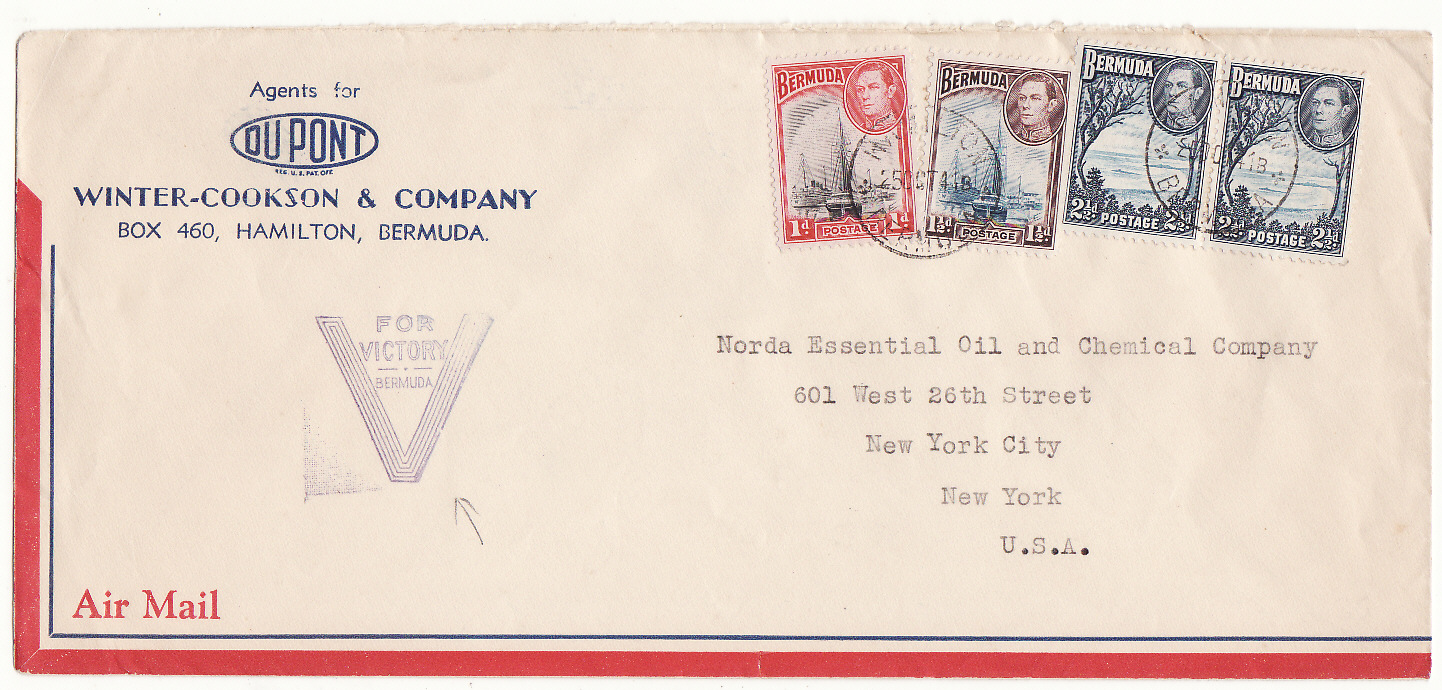 [16529]  BERMUDA-USA...WW2 PATRIOTIC AIRMAIL..  1941(Oct 25 )