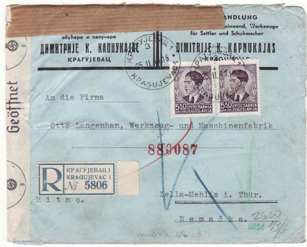YUGOSLAVIA - GERMANY…WW2 REGISTERED CENSORED…