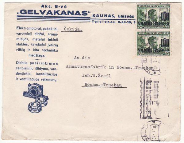 LITHUANIA - CZECHOSLOVAKIA…WW2 ELECTRICAL MOTOR COMPANY CENSORED…