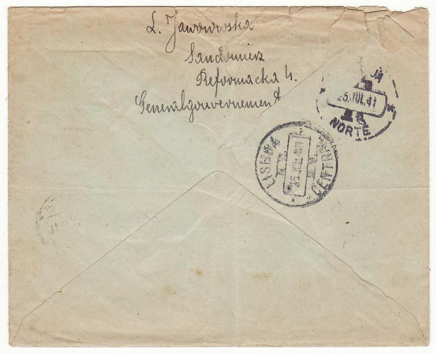 [19704]  POLAND - PORTUGAL…GENERAL GOVERNMENT REGISTERED to UNDERCOVER ADDRESS…  1941 (Jul 13 )