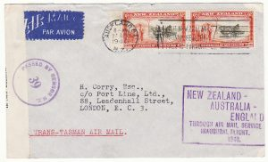 NEW ZEALAND - GB…1940 CENSORED TRANS-TASMAN AIRMAIL…
