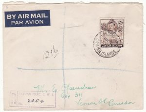 CAYMAN ISLANDS - CANADA.…WW2 REGISTERED AIRMAIL with solo 10/-.…
