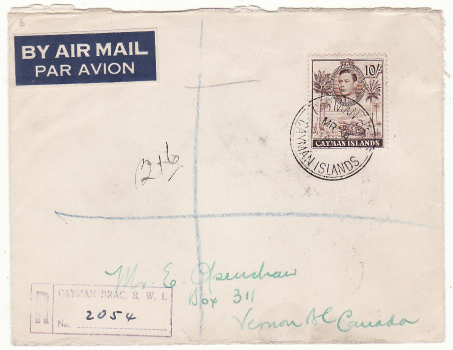 [19706]  CAYMAN ISLANDS - CANADA.…WW2 REGISTERED AIRMAIL with solo 10/-.…  1941 (Mar 4 )