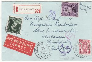 BELGIUM - GERMANY.…WW2 REGISTERED CENSORED EXPRESS MAIL.…
