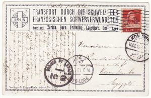 SWITZERLAND - EGYPT.…WW1 AMBULANCE TRAIN.…