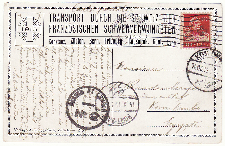 [19709]  SWITZERLAND - EGYPT.…WW1 AMBULANCE TRAIN.…  1915 (Oct 5 )