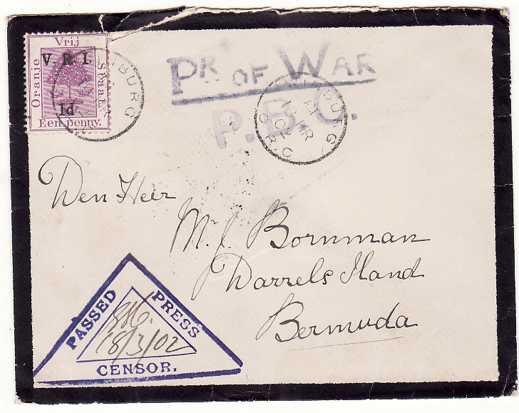 [19712]  SOUTH AFRICA - BERMUDA.…BOER WAR POW to POW on DARRELS ISLAND.…  1902 (Mar 13 )
