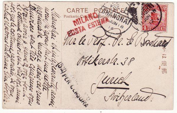 CHINA - SWITZERLAND…WW1 TEA HOUSE CARD CENSORED in ITALY…
