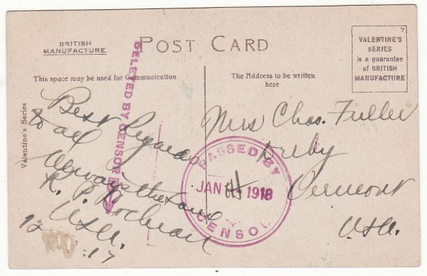 SOUTH AFRICA - USA...WW1 PPC with DELETED BY CENSOR…