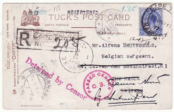 SOUTH AFRICA - NETHERLANDS...WW1 REGISTERED CENSORED POSTCARD DETAINED BY CENSOR…