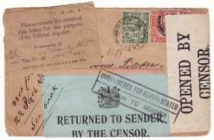 GB - NETHERLANDS...WW1 RETURNED BY THE CENSOR & P.O. OFFICIAL INQUIRY  …