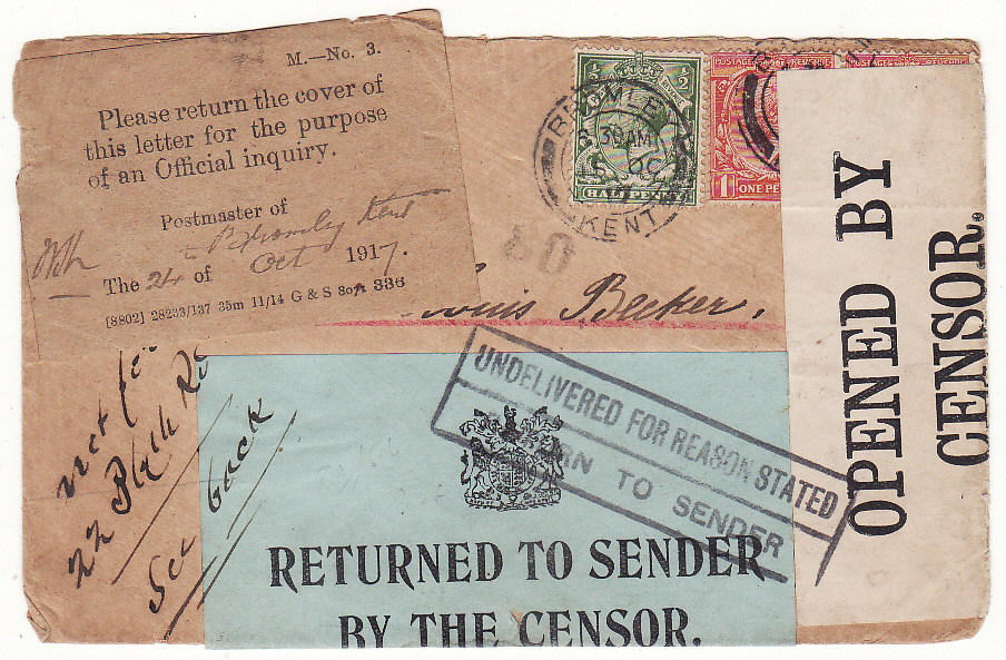 [19726]  GB - NETHERLANDS...WW1 RETURNED BY THE CENSOR & P.O. OFFICIAL INQUIRY …  1917 (Oct 15)