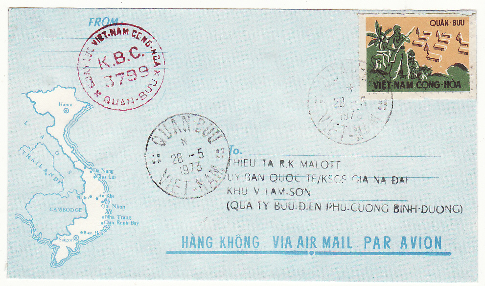 [19744]  VIET-NAM…VIET-NAM WAR INTERNAL MILITARY MAIL….  1973 (May 28)