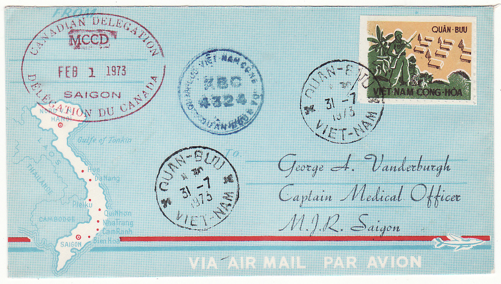 [19756]  VIET-NAM…VIET-NAM WAR INTERNAL MILITARY MAIL from CANADIAN MCCD DELEGATION  1973 (Feb 1)