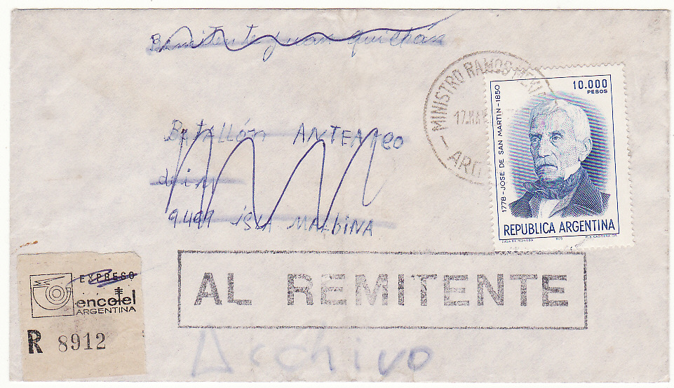 [19762]  ARGENTINA - FALKLAND Is. …1982 FALKLANDS WAR REGISTERED & RETURNED....  1982 (May 17)