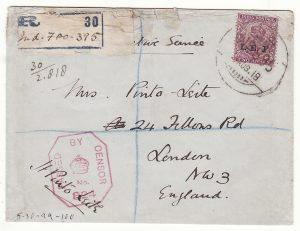PALESTINE - GB....WW1 REGISTERED CENSORED I.E.F.....