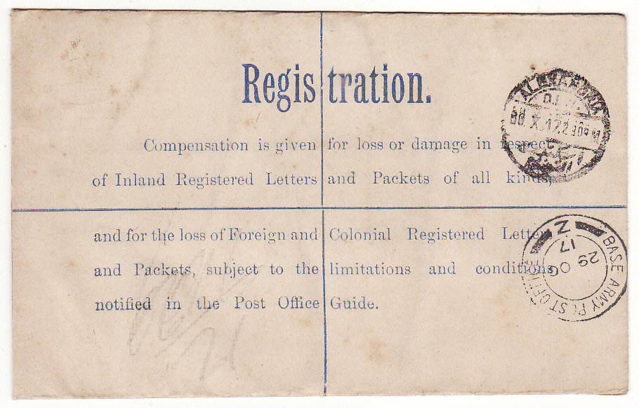 [19476]  PALESTINE - EGYPT…REGISTERED from BRITISH FORCES in PALESTINE …  1917 (Oct 28)