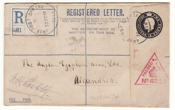 PALESTINE - EGYPT…REGISTERED from BRITISH FORCES in PALESTINE …