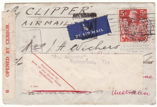 GB - AUSTRALIA…WW2 TWO OCEAN CENSORED AIRMAIL with solo 5/-…
