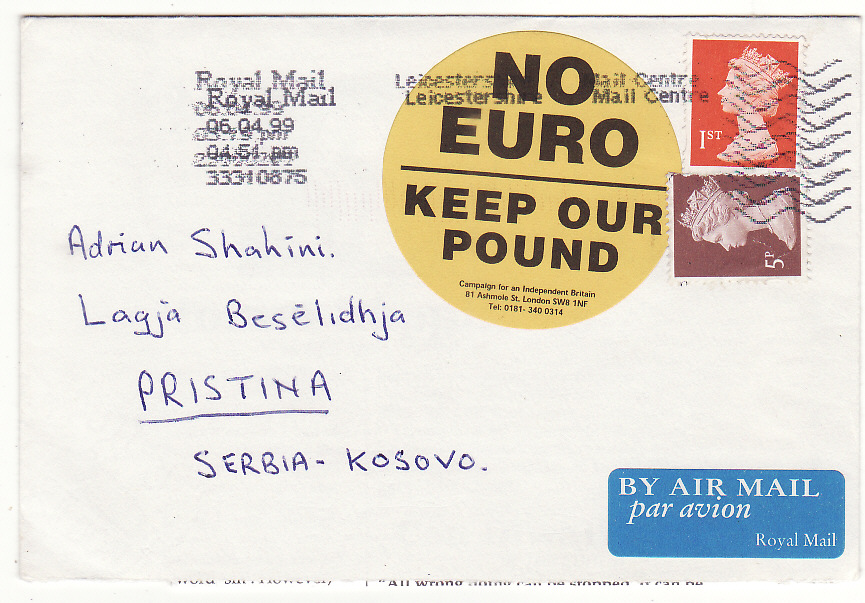 [19791]  GB - YUGOSLAVIA … KOSOVO SERVICE SUSPENDED & RTS with P.O. LETTER & RETURN ENVELOPE..   1999 (Apr 6)