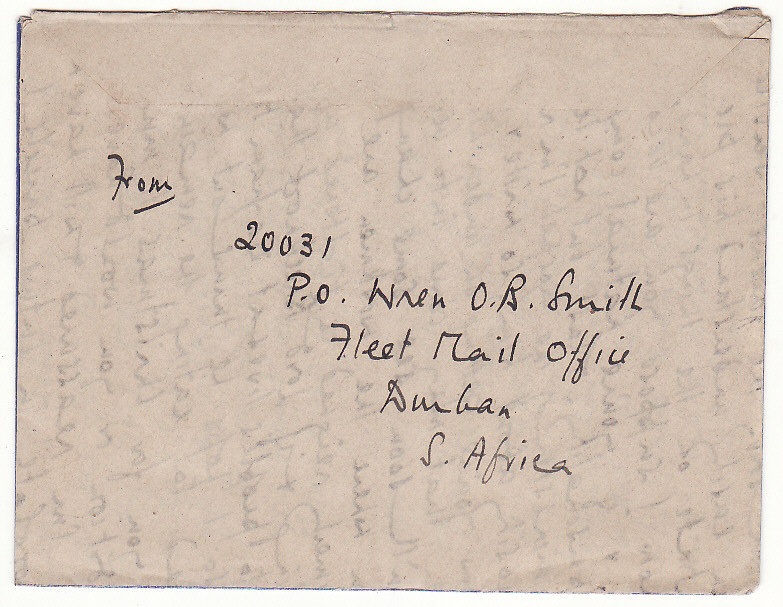 "[19805]  SOUTH AFRICA - GB…WW2 FLEET MAIL OFFICE, DURBAN with PAQUEBOT …  ""1944 (Feb 6)"