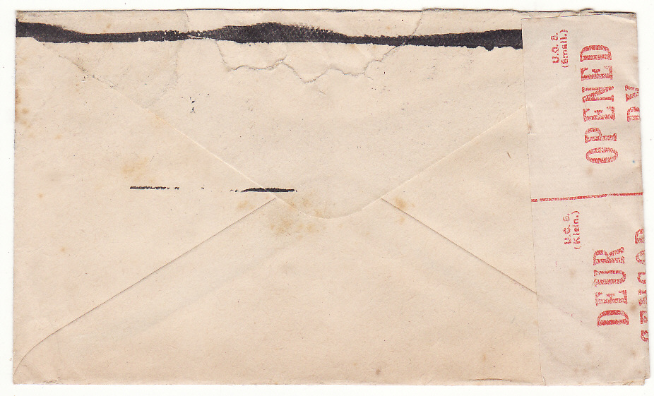 [19807]  SOUTH AFRICA - GB…WW2 SCARCER CENSORS HANDSTAMP & BLACKED OUT RETURN ADDRESS …  1942 (Apr 27)