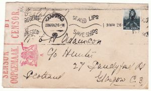 SOUTH AFRICA - GB…WW2 SCARCER CENSORS HANDSTAMP & BLACKED OUT RETURN ADDRESS …