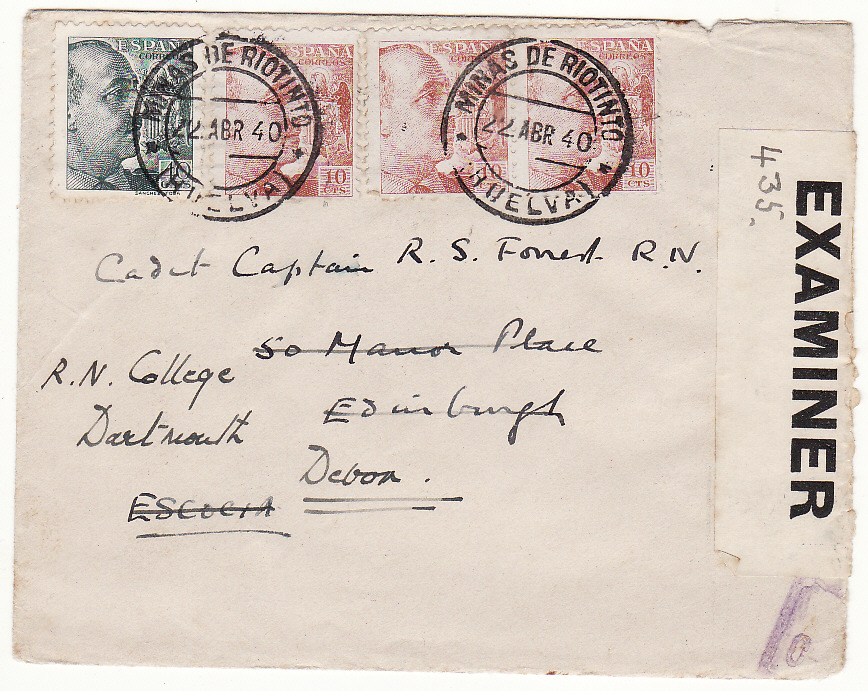 [19749]  SPAIN - GB..WW2 REDIRECTED with INTERIM LABEL to NAVAL CAPTAIN..  1940 (Apr 22)