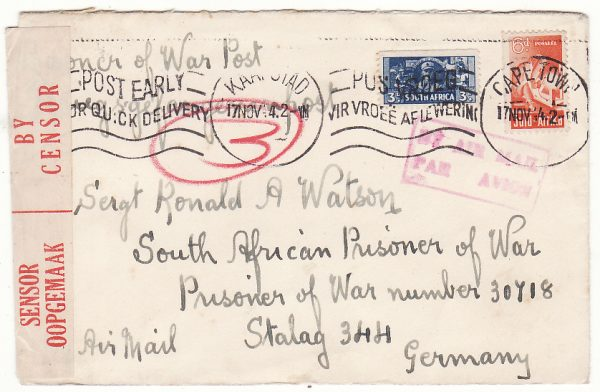 SOUTH AFRICA - GERMANY... WW2 POW MAIL