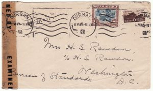 SOUTH AFRICA - USA…WW2 CENSORED @ 3/6 AIRMAIL RATE …