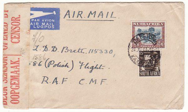 SOUTH AFRICA…WW2 CENSORED to POLISH FLIGHT