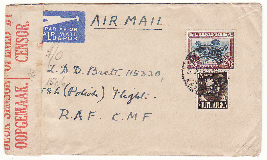 [19818]  SOUTH AFRICA…WW2 CENSORED to POLISH FLIGHT, RAF @ TRIPLE MILITARY 1/3 AIRMAIL RATE …  1944 (Nov 24)