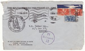 SOUTH AFRICA -KENYA…WW2 AIRMAIL CENSORED on ARRIVAL …