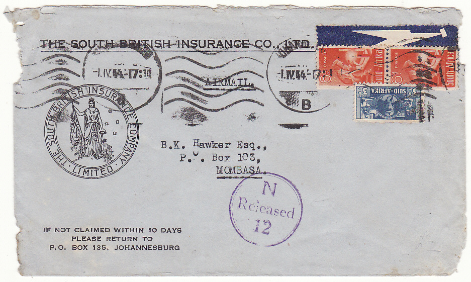 [19823]  SOUTH AFRICA -KENYA…WW2 AIRMAIL CENSORED on ARRIVAL …  1944 (Apr 1)